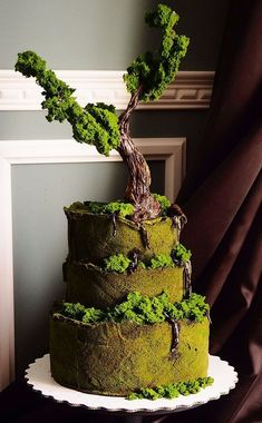33 Exquisite Mini Wedding Cakes For Your Inspiration Bonsai Cake, moss, tree, nature Crazy Cakes, Crazy Wedding Cakes, Fancy Cakes, Gorgeous Cakes, Pretty Cakes, Amazing Cakes, Unique Cakes, Creative Cakes, Creative Food