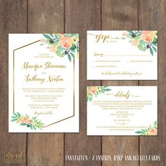 Wedding Invitation Suite, Floral Invitation Suite, Rustic Boho, Watercolor Roses & Peonies, Blush Coral Watercolor Flowers Gold - Monique by DIVart on Etsy