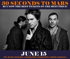 30 Seconds To Mars in Charlotte at PNC Music Pavilion - Charlotte on June 15. More about this event here https://www.facebook.com/events/157426561457781/
