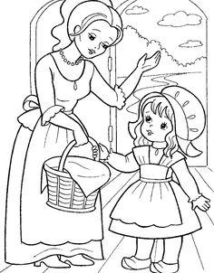 little red riding hood, karkulka Farm Animal Coloring Pages, Dog Coloring Page, Pattern Coloring Pages, Coloring Sheets For Kids, Cute Coloring Pages, Adult Coloring, Coloring Books, Art Drawings For Kids, Cute Drawings