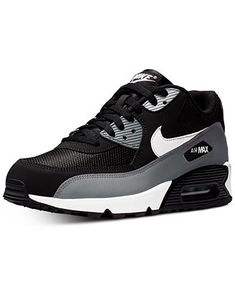 Nike Men's Air Max 90 Essential Casual Sneakers From Finish Line In Black White Grey Casual Sneakers, Air Max Sneakers, Shoes Sneakers, Air Max 90, Nike Air Max, My Hairstyle, Women's Socks & Hosiery, Comfy Shoes, Girls Shoes