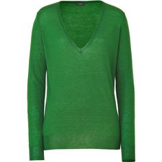 JOSEPH Emerald V-Neck Pullover ($245) ❤ liked on Polyvore featuring tops, sweaters, shirts, green, blusas, v neck pullover sweater, slim fit shirt, v neck long sleeve shirt, long sleeve pullover shirts and long sleeve pullover sweater