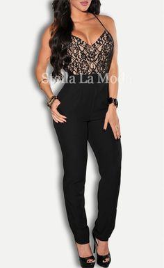 $32.99 Lace Top Cross Straps Backless Party Jumpsuit - Stella La Moda