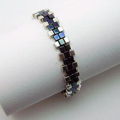 Peyote Woven Art Deco Bracelet, Square Miyuki Seed Bead Woven Bracelet, Silver and Black Cube Bead Woven Bracelet