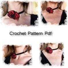 """Pattern Tutorial fotografico in Pdf con spiegazioni passo passo per fare all'uncinetto la collana / bracciale """"Spanish"""". Crochet pattern pdf necklace / bracelet"""