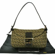 """AUTH  VINTAGE ZUKKA PATTERN SHOULDER BAG BBG2320 """"It is 100% Authentic Item - Previously Owned but Good Condition,Please Check all the Photos!  Material: Canvas, Leather   , Color : Beige ,?Good condition.?  ,Size (Inch)W 10.2 ? H 6.7 ? D 3.1 """"""""   Shoulder Drop. 3.9 - 6.3 """""""",,  No Trade."""" FENDI Bags Mini Bags"""