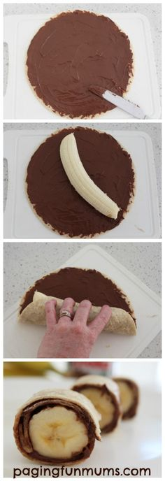 Nutella и бананы - быстрые и питательные суши для детей.