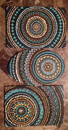 Handmade dot art trio