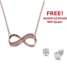 Rose Gold Plated Cubic Zirconia Infinity Necklace - John Stewart Jewellers