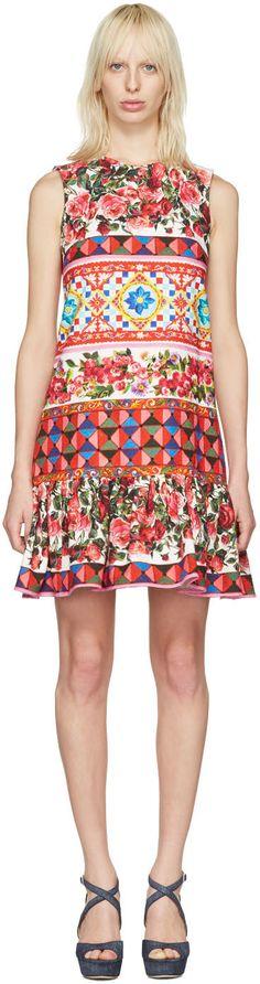 Dolce & Gabbana - ピンク フローラル モザイク ドレス