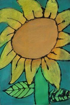 a faithful attempt: Glue Line Chalk Pastel Sunflowers