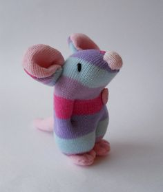 plush mouse sock animal miniature sock doll by TreacherCreatures, $15.00