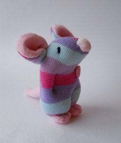 plush mouse sock animal miniature sock doll by TreacherCreatures, $15.00