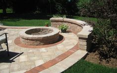Company recommended on Nextdoor for my area. May want to call them when and if we do a concrete patio area in the backyard. Fire Pit Bbq, Fire Pit Area, Fire Pit Patio, Fire Pits, Backyard Layout, Backyard Patio, Backyard Landscaping, Brick Paving, Concrete Patio