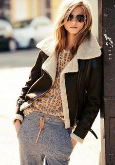 grey, leather aviator jacket, sweatpants, leopard print.