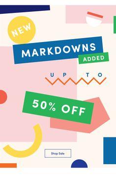 New Markdowns + Made in CA Favorites Minimal Web Design, Typography Poster Design, Branding Design, Newsletter Design, Banner Design Inspiration, Layout Design, Web Layout, Design Design, Facebook Cover Design