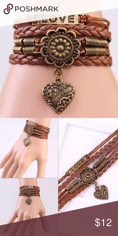 Cute Brown Love Leather Infinity Bracelet Pretty Fashion Bracelet Jewelry Bracelets