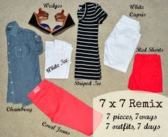 Style remix - 7 pieces, 7 ways, 7 outfits, 7 days!