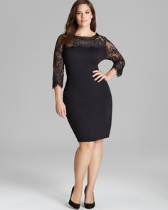 Marina Rinaldi Gattino Knit Dress with Lace Sleeves   Bloomingdale's