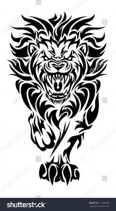 Illustration Roaring Lion Tattoo On Isolated Stock Vector (Royalty Free) 611508740 Tribal Animal Tattoos, Tribal Lion Tattoo, Tribal Drawings, Tribal Dragon Tattoos, Tribal Animals, Lion Tattoo Design, Leo Tattoos, Tattoo Designs Men, Hand Tattoos
