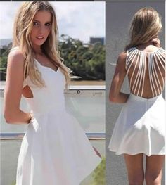 White Plain Cut Out Pleated Line Backless Dress