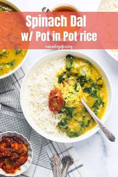 The ultimate Indian comfort food, dal and rice is so EASY using Instant Pot. Addition of spinach Veggie Recipes Healthy, Vegetarian Recipes Videos, Healthy Indian Recipes, Easy Chicken Recipes, Instant Recipes, Instant Pot Dinner Recipes, Indian Lentil Soup, Spinach Dal, Vegetarian Main Dishes