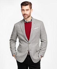 Regent Fit Herringbone Sport Coat Light Grey