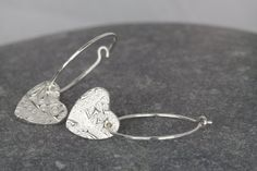 Heart Hoops ~ textured earrings ~ sterling silver hoop earrings ~ paisley solid silver texture ~ delicate silver ~ perfect present Silver Earrings Online, Silver Hoop Earrings, Heart Earrings, Silver Ring, Drop Earrings, Glass Jewelry, Charm Jewelry, Jewelry Bracelets, Cleaning Silver Jewelry