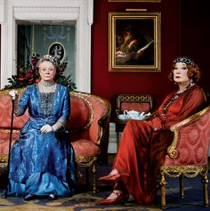Lady Violet, Dowager countess Grantham (Dame Maggie Smith) and Shirley MacLain as Martha Levinson #Downton Abbey Xmas special