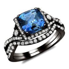2.15ct Cushion Blue Sapphire & Diamond Engagement Ring Bridal Set 18K Black Gold:Amazon:Jewelry