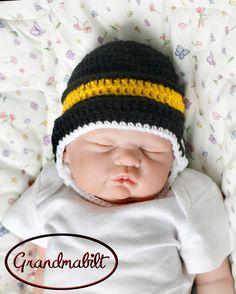 BABY HOCKEY HAT Helmet Baby Boys Crocheted Hat  by Grandmabilt, $21.00
