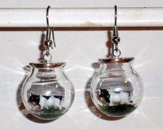 Ohrringe Kuh Tiere Damen Hänger Ohrschmuck Modeschmuck Glas Durchzieher