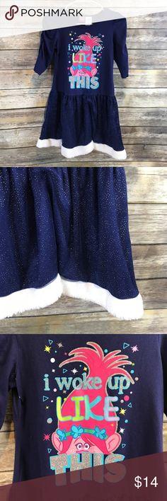 💜L (10/12) Disney Dreamworks Trolls Dress Sparkly skirt, fuzzy hem, cute Poppy Troll design. Disney Dresses