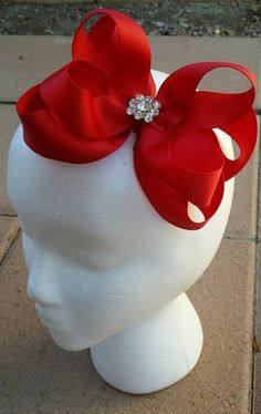 Check out this item in my Etsy shop https://www.etsy.com/listing/216179542/big-red-hair-bow-headband-stacked