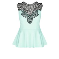 City Chic Lace Love Top (200.475 COP) ❤ liked on Polyvore featuring tops, shirts, tank tops, lace peplum shirt, crochet tank, lace shirt, green tank top and green top