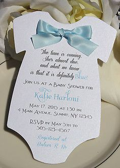 Baby Shower Invitation for Boy in Shape of Onesie with Blue Satin Bow!