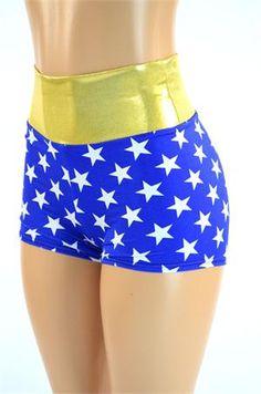 Blue & White Star High Waist Wonder Woman Shorts