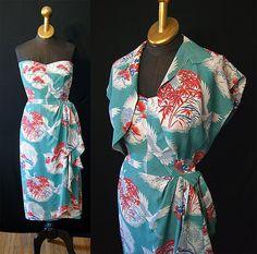 Stunning 1950's Lauhala Hawaiian strapless sarong by wearitagain, $350.00