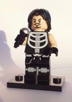 CUSTOM 100% LEGO ROCKER HEAVY METAL ROCK STAR w MICROPHONE skeleton shirt KOOL #LEGO