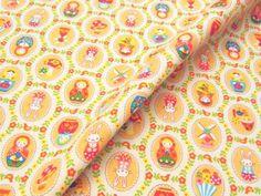 バッグや雑貨小物などの制作に マトリョーシカ柄コットンオックスプリント 110cm巾 綿100% - そーいんぐ・すていしょん コミニカ