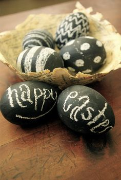 """Very cool way to make your Easter Decorations """"Old School"""" - Chalkboard Easter Eggs.  Will kids even know what a chalkboard is?"""