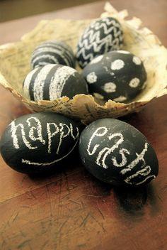 Love this idea!!  Chalkboard Easter eggs!