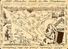 """""""All roads lead to the Doghouse."""" Vintage placemat from Seattle's famous Dog House restaurant, My parents use to take us there. The owner would always give us a dog stuffed animal. Another historical loss for Seattle when it finally shut down. Build A Dog House, Dog House Plans, Seattle Dog, Famous Dogs, Vintage Menu, University Of Washington, Washington State, City Boy, Large Animals"""