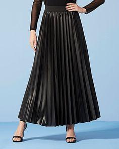 Wet Look Sunray Pleat Maxi Skirt | Fifty Plus