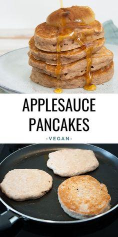 Vegan Pancake Recipes, Vegan Foods, Vegan Dishes, Healthy Breakfast Recipes, Baby Food Recipes, Cooking Recipes, Vegetarian Breakfast, Breakfast Recipes With No Eggs, Vegan Healthy Pancakes