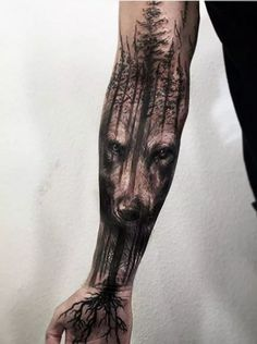 Amazing Wolf & Tree Tattoo by Jak Connolly at Equilattera in Miami - Imgur