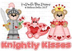 Knightly Kisses  Original Artwork by Melissa Deuss  www.kadoodlebugdesigns.com