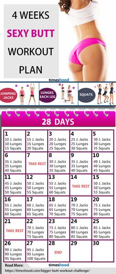 3 Simple Butt Exercises. 4 Weeks Butt workout challenge at home. Butt Workout Plan for 28 days. No Gym, No Equipments, Butt exercises for beginners. Butt workout for women at home. Read: https://timeshood.com/bigger-butt-workout-challenge/