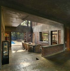 Indian Brick House with an Architectural Design Influenced by a Mango Trees Plantation 5 Home Interior Design, Interior Architecture, Exterior Design, Industrial House, Tropical Houses, Home Studio, House And Home Magazine, Modern House Design, Traditional House