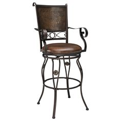 Bar Height..Big & Tall Copper Back Swivel Bar Stool with Arms by Powell | Iron Metal Bar Height Swivel Stool Arms Upholstered Seat